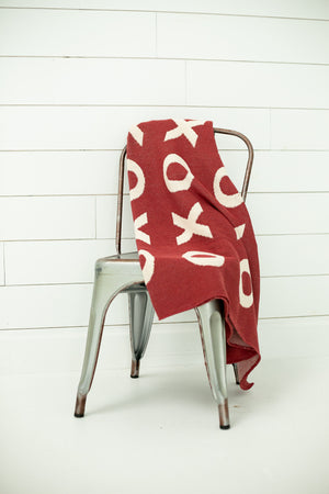 Load image into Gallery viewer, Made in the USA | Recycled Cotton Blend  XO Throw Blanket | Rust Red