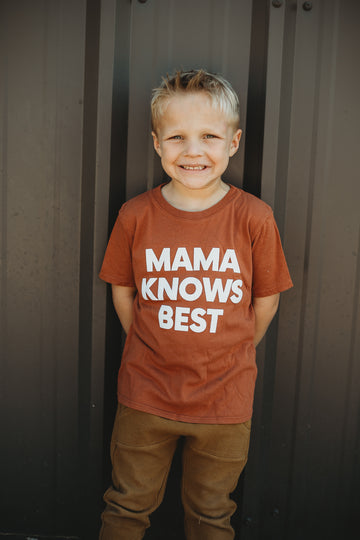 Made in the USA | Mama Knows Best Kid S/S Crewneck Tee - Sunburn