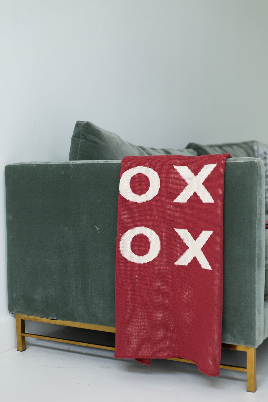 *NEW* Made in the USA | Recycled Cotton Blend  XO Throw Blanket | Rust Red