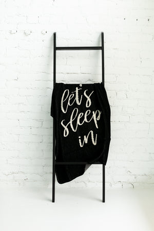 Load image into Gallery viewer, *NEW* Made in the USA | Recycled Cotton Blend  Let's Sleep In Throw Blanket | Black