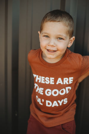 Load image into Gallery viewer, Made in the USA | These Are The Good Ol' Days Kid S/S Crewneck Tee - Sunburn