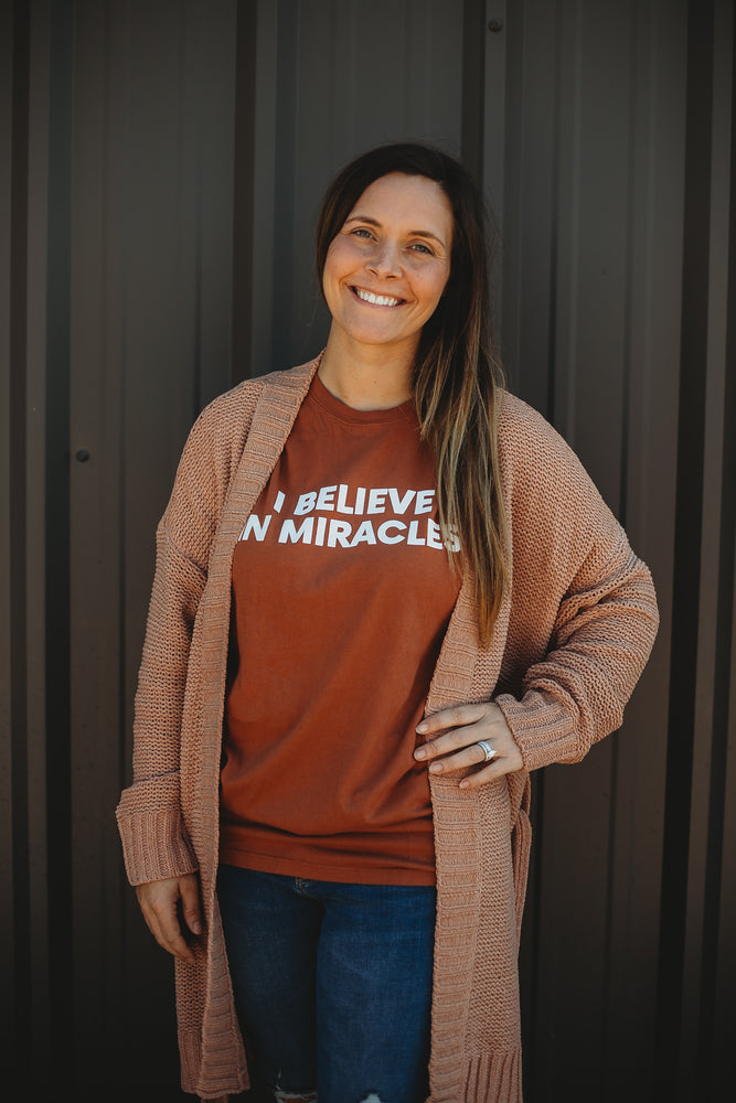 Load image into Gallery viewer, Made in the USA TEE FOR A CAUSE | I believe in miracles Unisex L/S Crewneck Tee - Sunburn