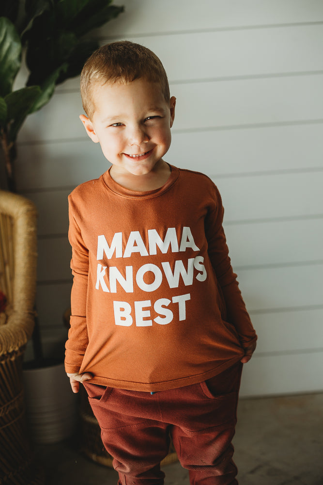 Made in the USA | Mama Knows Best Kid L/S Crewneck Tee - Sunburn