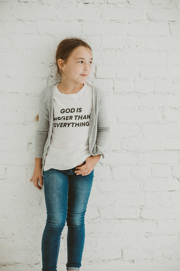 God is bigger than everything Kid's Crewneck Tee -  Cloud