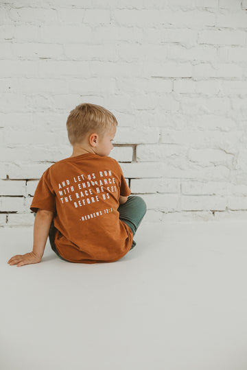Made in the USA | Hebrews 12:1 Kid S/S Crewneck Tee - Sunburn