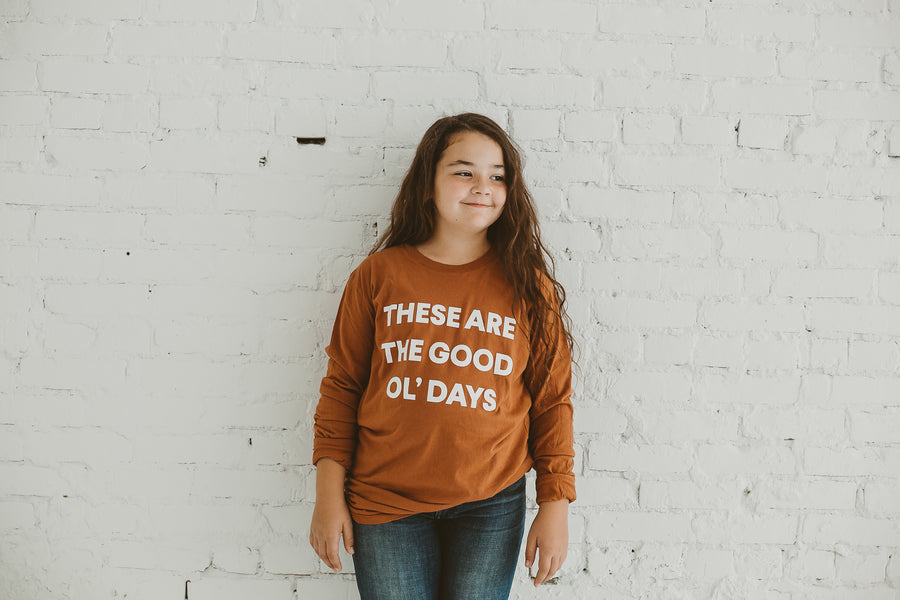 Made in the USA | These Are The Good Ol' Days Unisex L/S Crewneck Tee - Sunburn