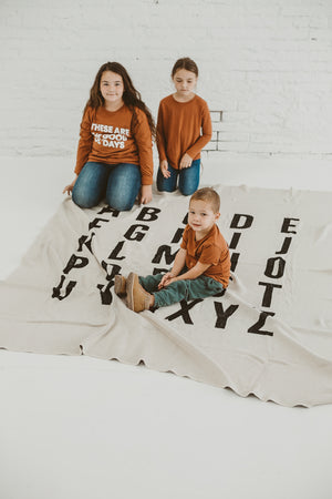 Load image into Gallery viewer, Made in the USA | Recycled Cotton Blend  ABC Throw Blanket | Natural