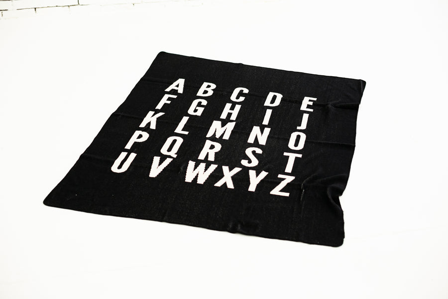 *NEW* Made in the USA | Recycled Cotton Blend  ABC Throw Blanket | Black