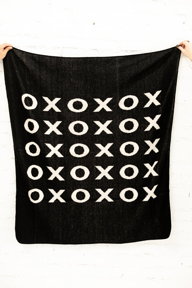 Made in the USA | Recycled Cotton Blend  XO Throw Blanket | Black