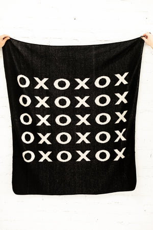 Load image into Gallery viewer, Made in the USA | Recycled Cotton Blend  XO Throw Blanket | Black