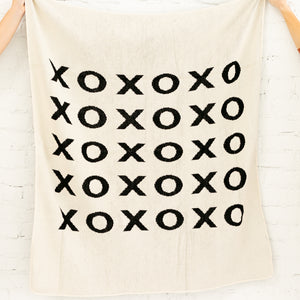 Made in the USA | Recycled Cotton Blend  XO Throw Blanket | Natural