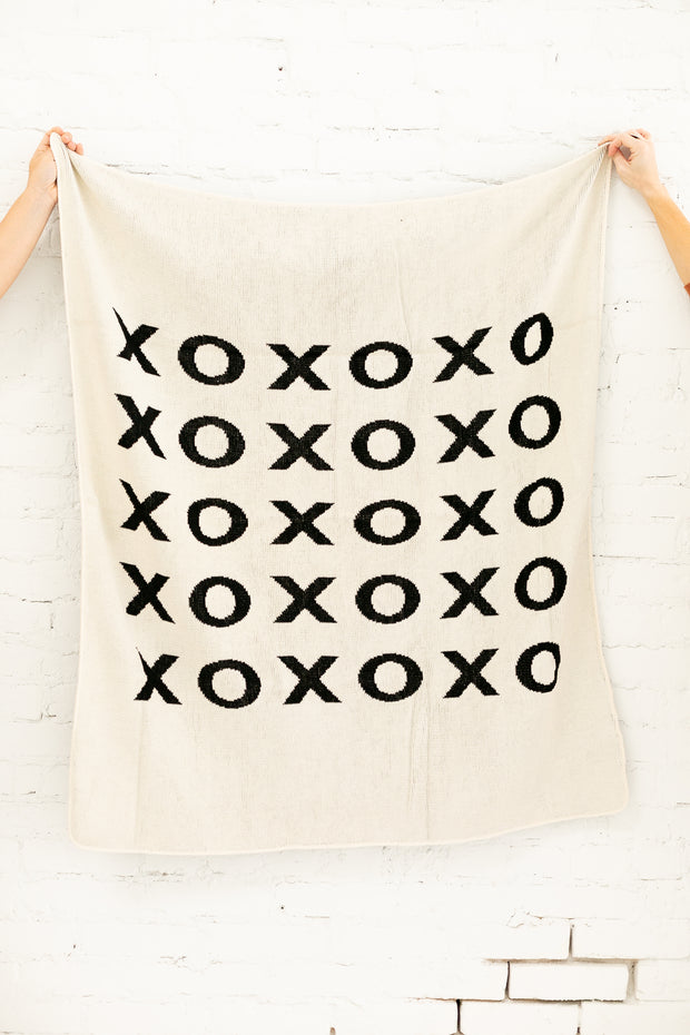 Made in the USA | Recycled Cotton Blend  XO Throw Blanket | Natural 1