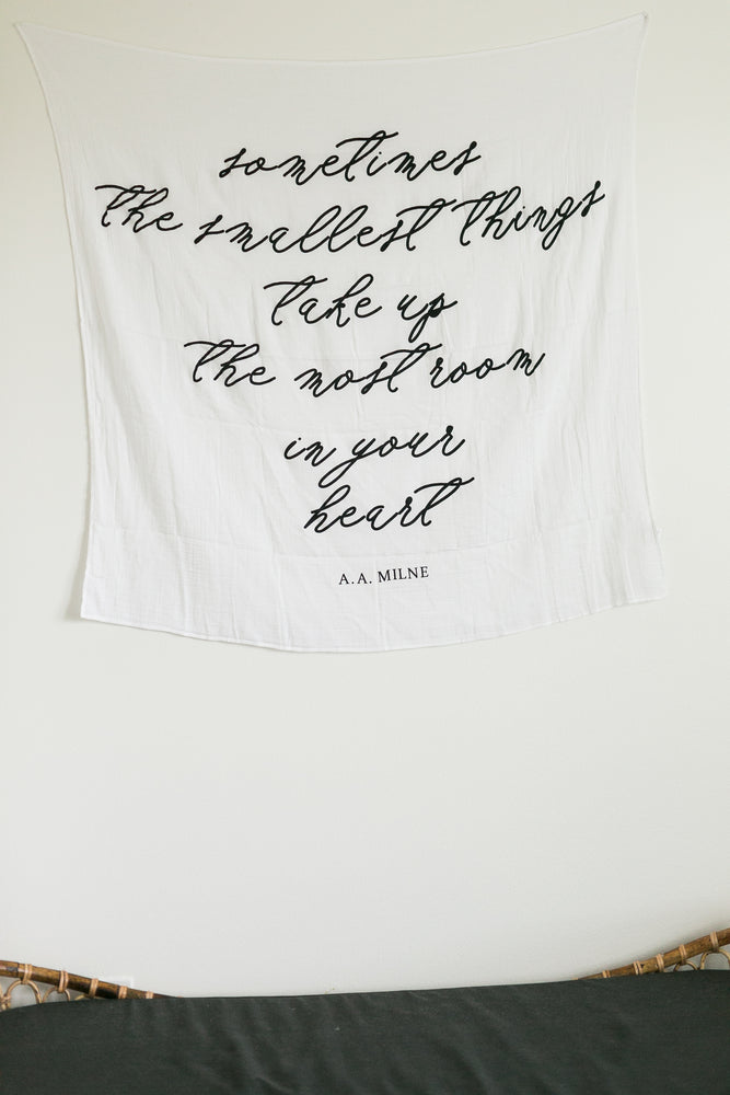 Load image into Gallery viewer, Organic Cotton Muslin Swaddle Blanket + Wall Art - Sometimes the smallest things