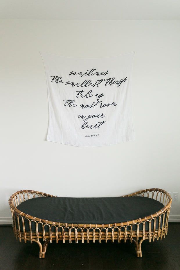 Organic Cotton Muslin Swaddle Blanket + Wall Art - Sometimes the smallest things 1
