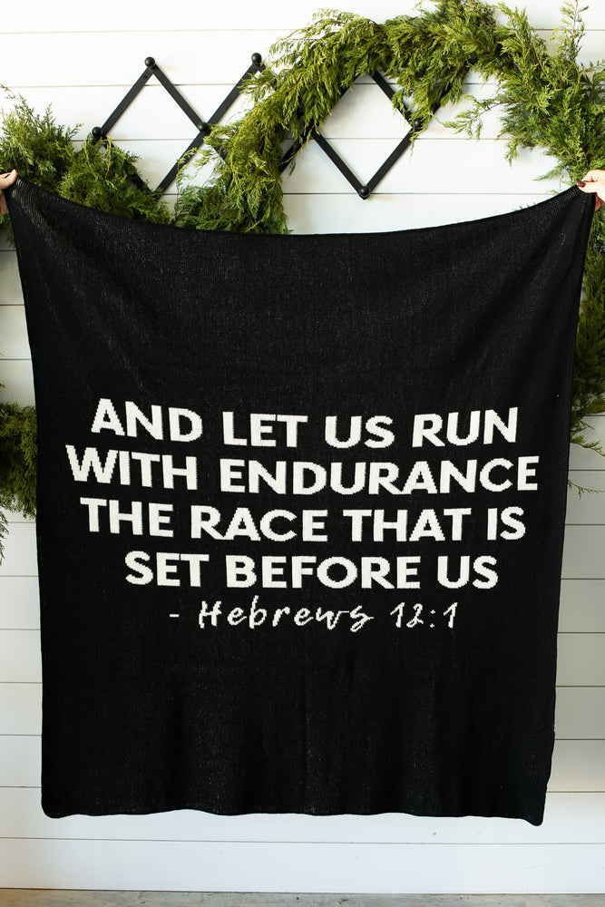*NEW* Made in the USA | Recycled Cotton Blend Hebrews 12:1 Throw Blanket | Black