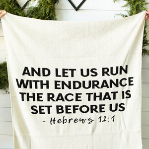 Made in the USA | Recycled Cotton Blend Hebrews 12:1 Throw Blanket | Natural