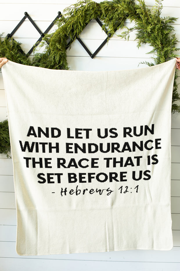 Made in the USA | Recycled Cotton Blend Hebrews 12:1 Throw Blanket | Natural 1