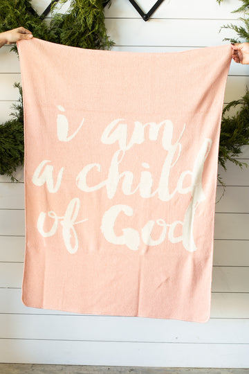 Made in the USA | Recycled Cotton Blend  I am a child of God Throw Blanket | Cameo Pink