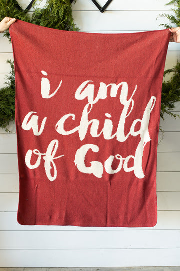 *NEW* Made in the USA | Recycled Cotton Blend  I am a child of God Throw Blanket | Rust Red
