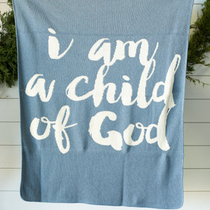 Made in the USA | Recycled Cotton Blend  I am a child of God Throw Blanket | Pacific Blue