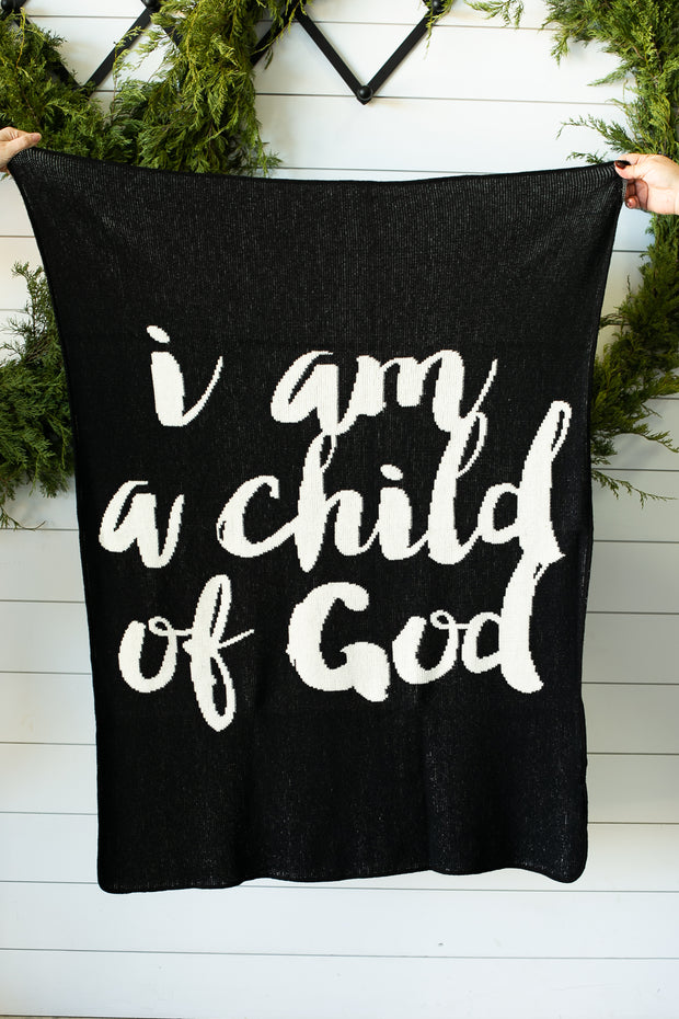 Made in the USA   Recycled Cotton Blend  I am a child of God Throw Blanket   Black 1