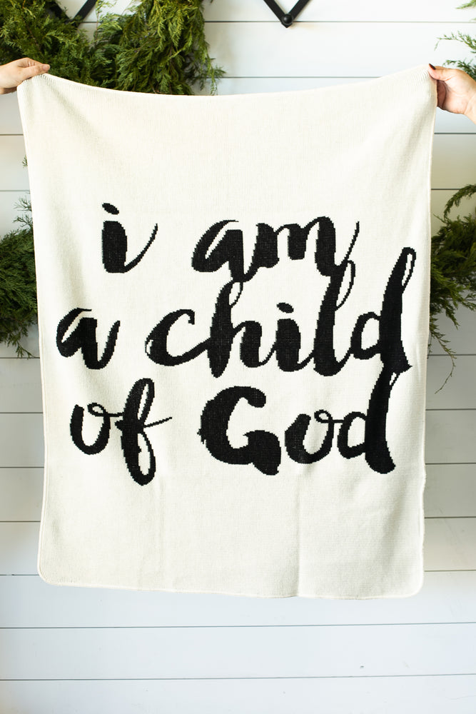 *NEW* Made in the USA | Recycled Cotton Blend  I am a child of God Throw Blanket | Natural