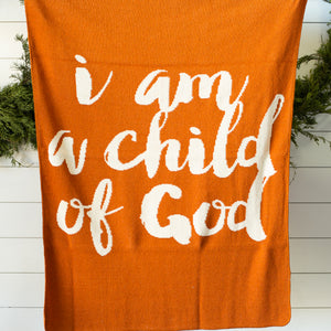 Made in the USA | Recycled Cotton Blend  I am a child of God Throw Blanket | Braza Orange