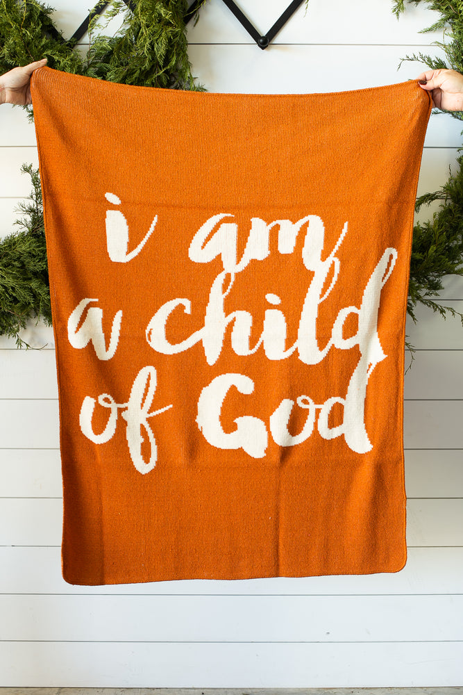 *NEW* Made in the USA | Recycled Cotton Blend  I am a child of God Throw Blanket | Braza Orange