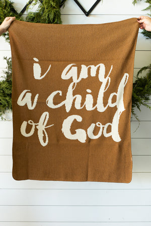 Load image into Gallery viewer, Made in the USA | Recycled Cotton Blend  I am a child of God Throw Blanket | Caramel