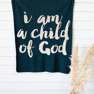 Made in the USA | Recycled Cotton Blend  I am a child of God Throw Blanket | Teal