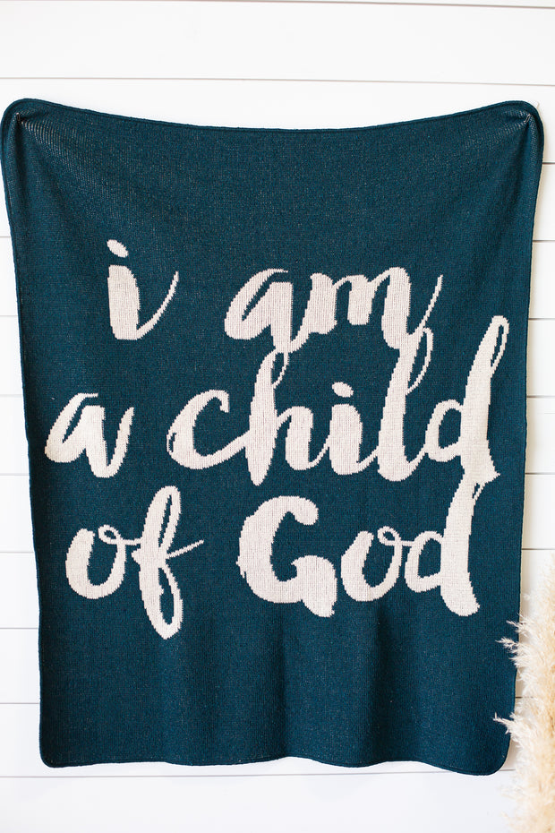 Made in the USA | Recycled Cotton Blend  I am a child of God Throw Blanket | Teal 1