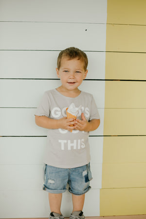 Load image into Gallery viewer, *IMPERFECT* God's Got this Kid's Scoop Neck Tee -  Light Gray