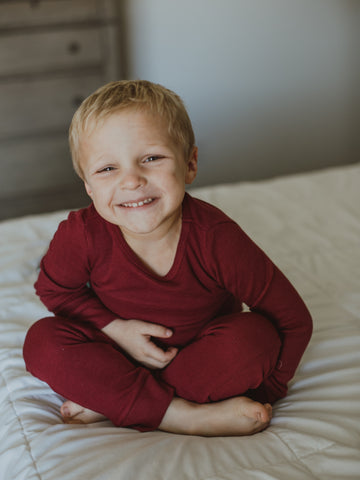 Organic Thermal Pajama Set -  MAROON