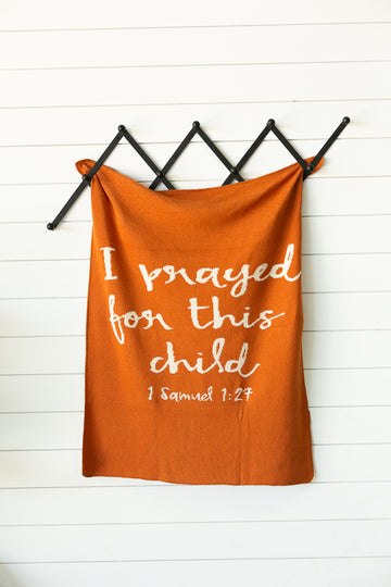 *NEW* Made in the USA | Recycled Cotton Blend I prayed for this child Throw Blanket | Braza Orange