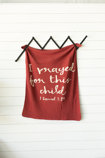 *NEW* Made in the USA | Recycled Cotton Blend I prayed for this child Throw Blanket | Rust Red
