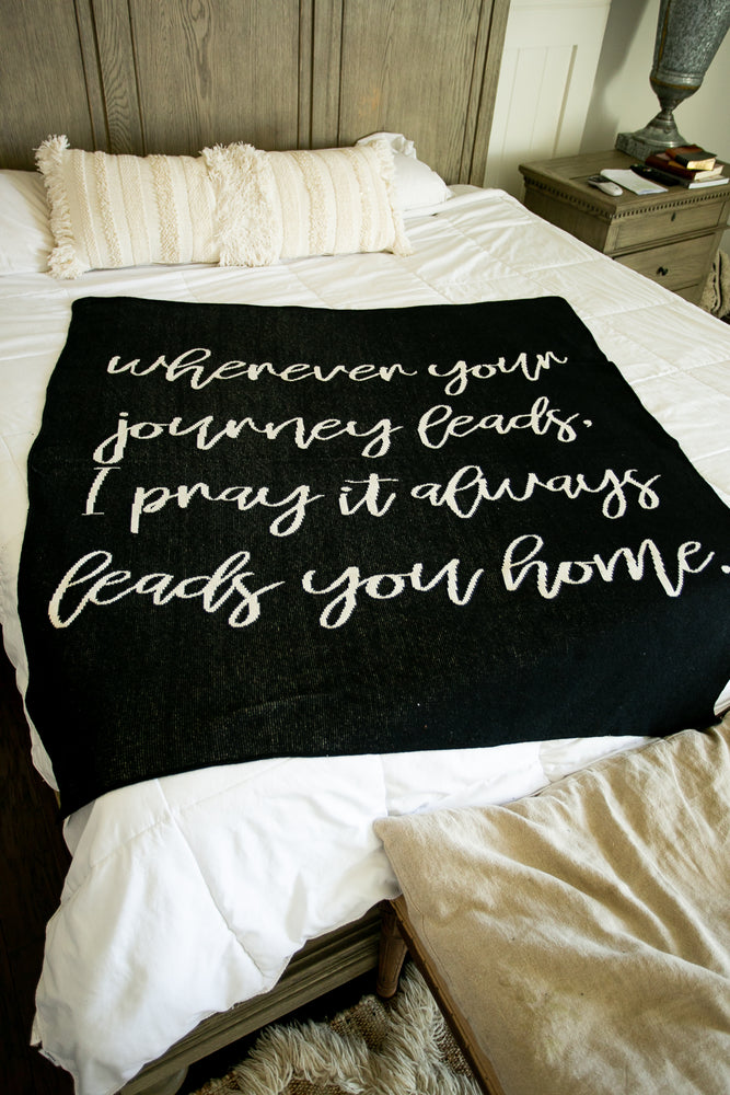 Made in the USA | Recycled Cotton Blend  Wherever Your Journey... Throw Blanket | Natural on Black