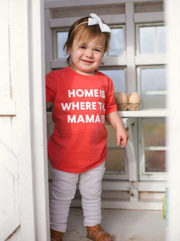 Home is where the mama is Kid's Crewneck Tee - Living Coral (only size 2 available)