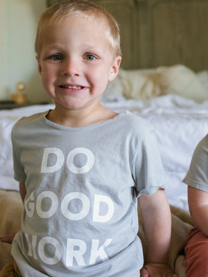 Load image into Gallery viewer, *IMPERFECT* Do Good Work Scoop Neck Youth Tee -  Light Gray