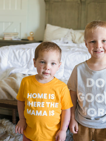 Home is where the mama is Kid's Crewneck Tee - Radiant Yellow (only size 2 available)