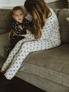Women's Pajama Set in Organic Cotton - BLACK ON WHITE SNOWFLAKES