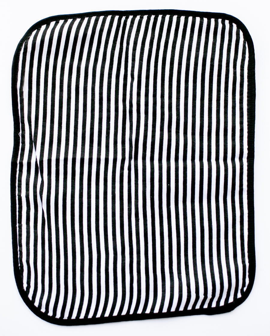 4 Layer  Organic Cotton Muslin Burp Cloth -  REVERSIBLE Spots + Stripes