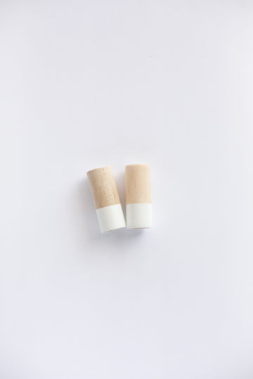 Wood Salt and Pepper Shaker Set -  White