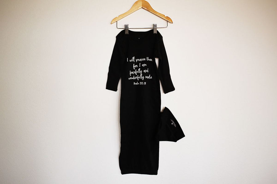 Organic Knot Hat + Gown Set -  (Black) Psalm 139:14