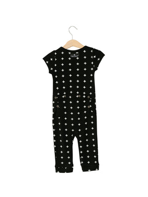Load image into Gallery viewer, Organic Short Sleeve Jumpsuit with Explorer Back -  Prints