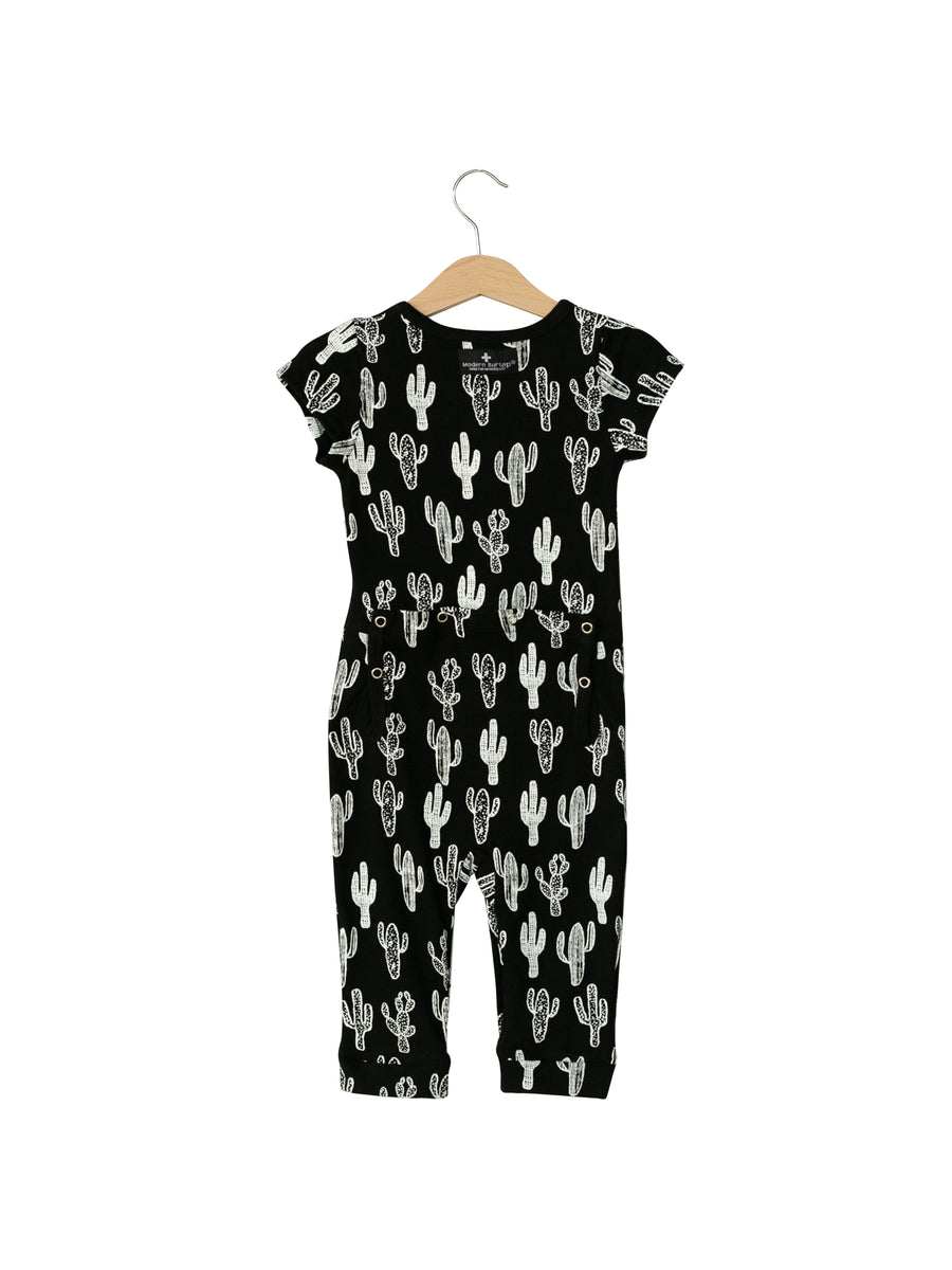 Organic Short Sleeve Jumpsuit with Explorer Back -  Prints