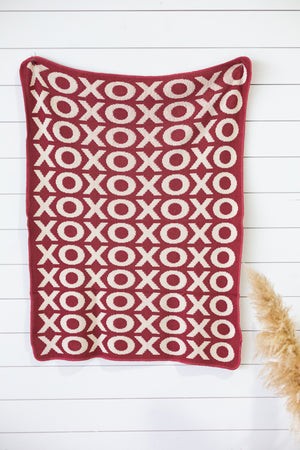 Load image into Gallery viewer, Made in the USA | Recycled Cotton Blend  XO Throw Blanket | Rust Red - NEW DESIGN