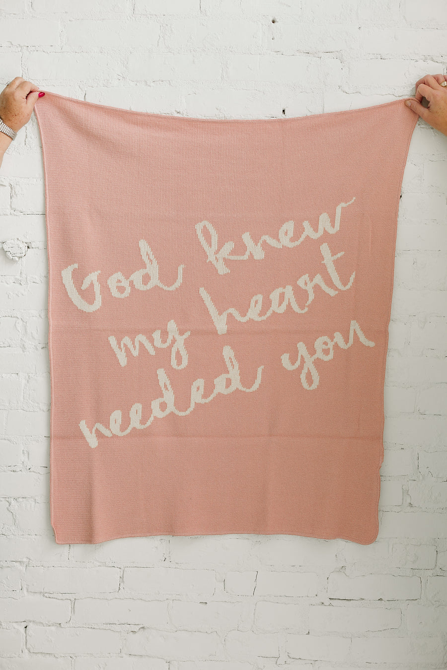 *NEW* Made in the USA | Recycled Cotton Blend  God knew my heart needed you Throw Blanket | Cameo Pink