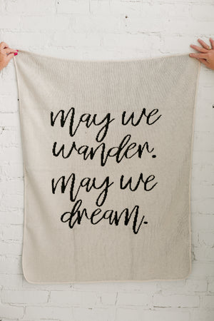 Load image into Gallery viewer, *NEW* Made in the USA | Recycled Cotton Blend  May We Wander May You Dream Throw Blanket | Natural
