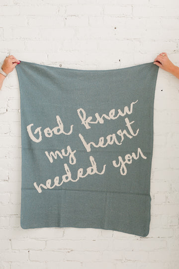 *NEW* Made in the USA | Recycled Cotton Blend  God knew my heart needed you Throw Blanket | Pacific Blue
