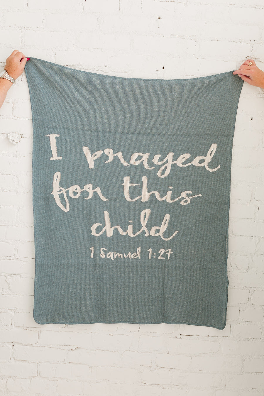 *NEW* Made in the USA | Recycled Cotton Blend I prayed for this child Throw Blanket | Pacific Blue